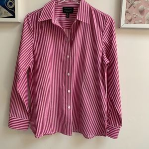 Foxcroft Striped Button Down Blouse/Shirt